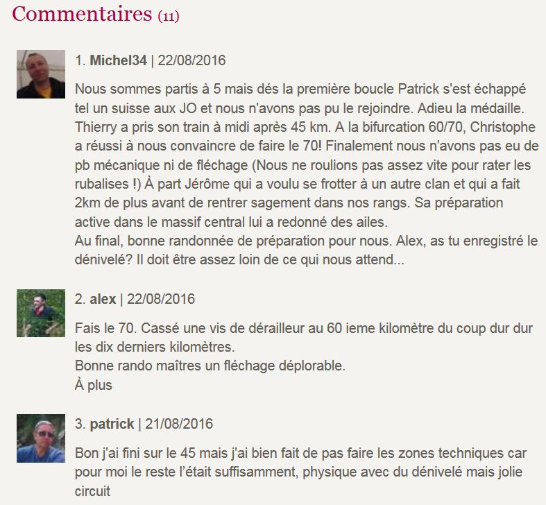Commentaires rando becherel