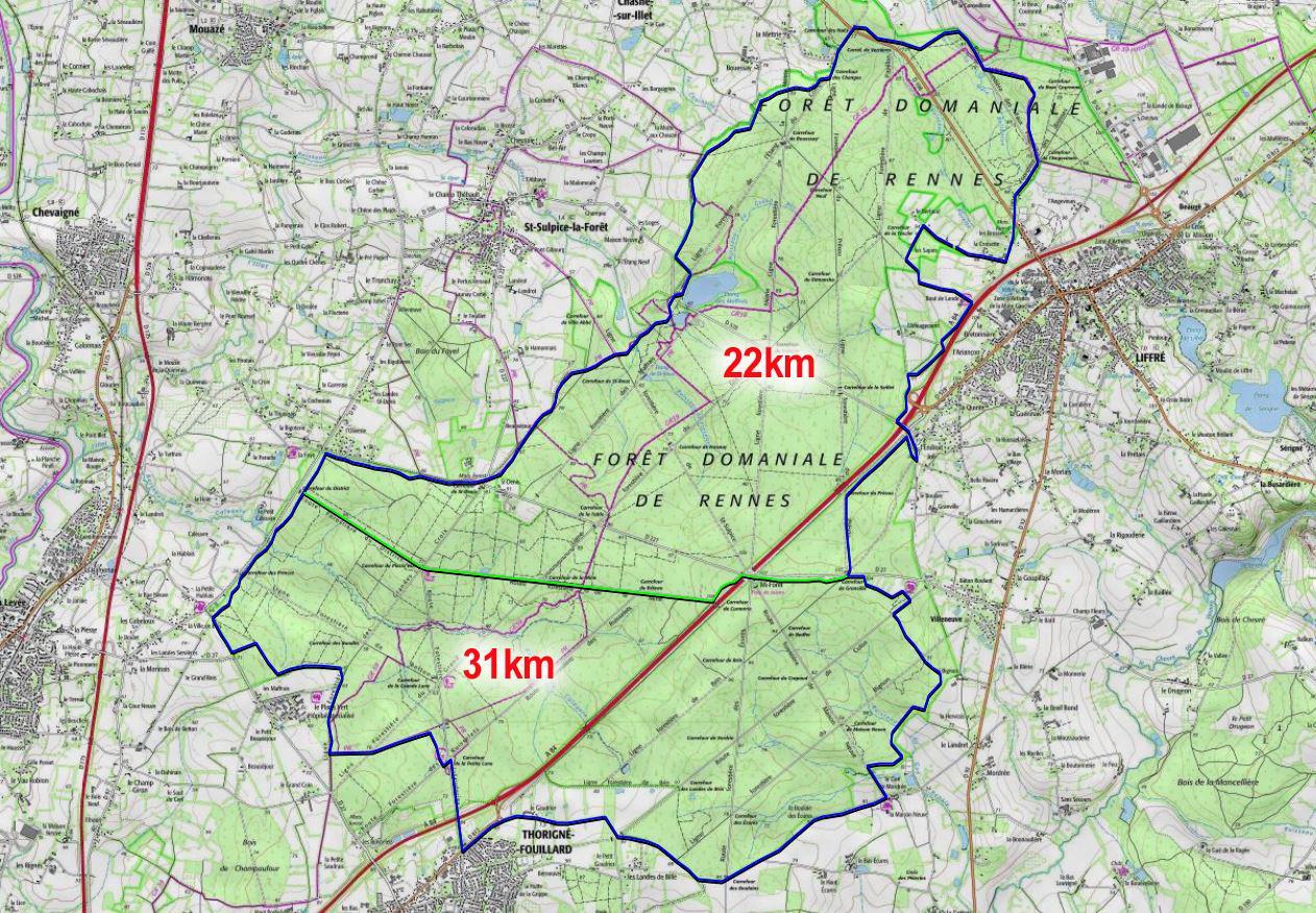 Tour foret de rennes 22 et 31 km